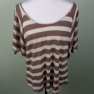a.n.a Striped Brown and Off White Top XL